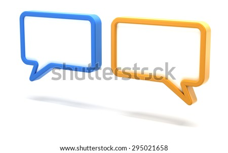 Pair of speech bubbles, 3d render, white background
