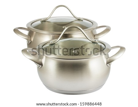 Pair of steam cooking pots with lids isolated on white background