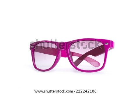 Pair of stylish pink female glasses isolated over the white background - stock photo