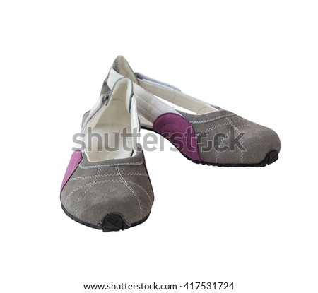 Pair of suede women's  low-heeled shoes on a white background isolated - stock photo