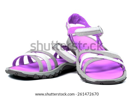 Pair of summer sandals. Isolated on white background. - stock photo