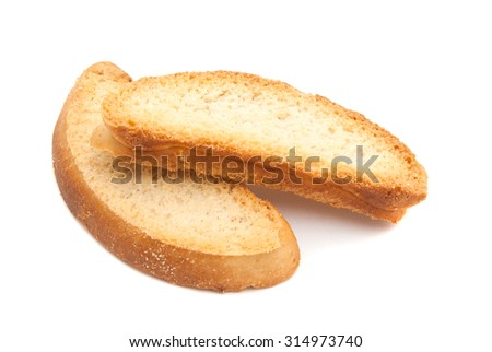 pair of sweet crackers on white background - stock photo