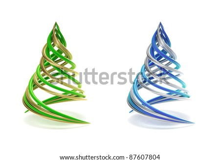 Pair of symbolic and minimalist christmas tree - stock photo