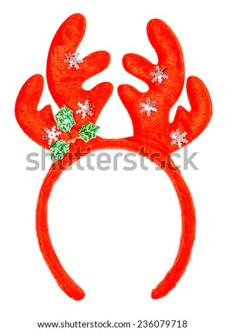 Pair of toy horns solated on a white background - stock photo
