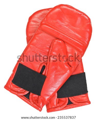 pair of training red boxing gloves isolated on white background
