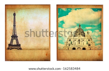 Pair of two vintage paris photos with Eiffel Tower and Sacre Coeur isolated on white