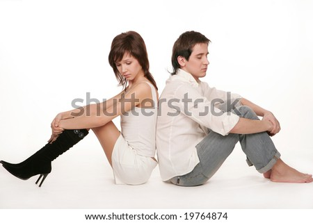 Pair of two young people on white background