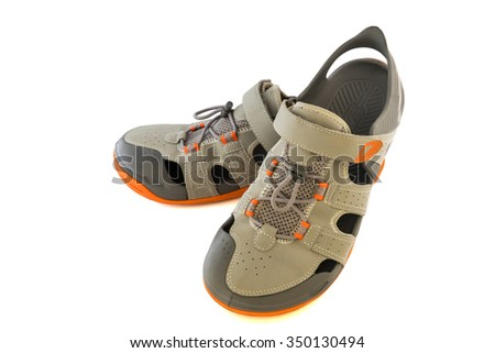 Pair Of Used Sport Sandals Over White Background - stock photo