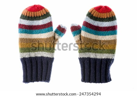 Pair of varicolored striped mittens isolate on white. - stock photo