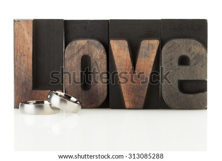 Pair of wedding rings in front of the word Love isolated on white background - stock photo