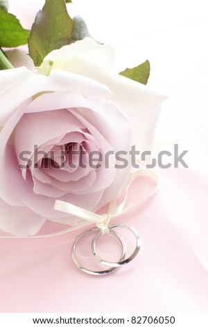 pair of wedding rings with pastel purple rose for background image - stock photo