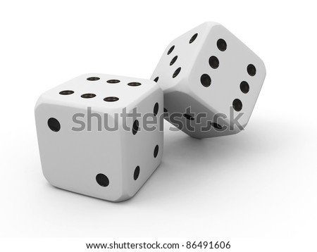 Pair of white casino dice isolated on white background