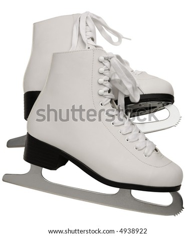 Pair of White Figure Skates - isolated on white