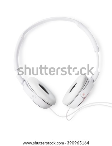 Pair of white headphones isolated on white - stock photo