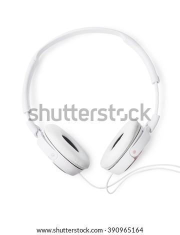 Pair of white headphones isolated on white - stock photo