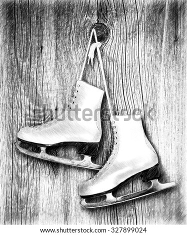 Pair of White Ice Skates on wooden  backround. - stock photo