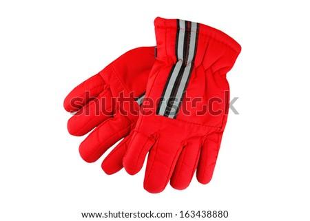 Pair of winter ski gloves, isolated on white background - stock photo