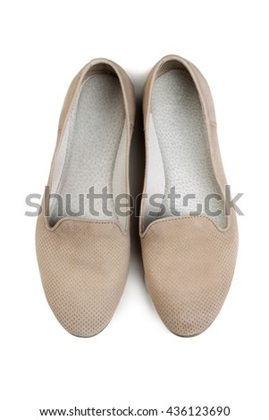 pair of women's shoes light, top view. Isolate on white background. - stock photo