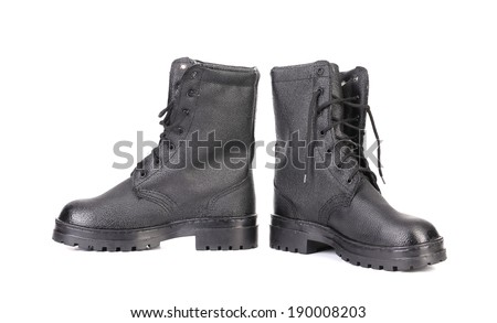 Pair of working boots. Isolated on white background.