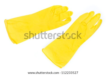 pair of yellow rubber gloves - isolated on white background