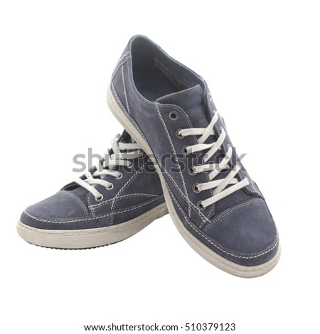pair of youth shoes blue