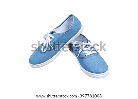 Pair sneakers, blue color isolated background - stock photo