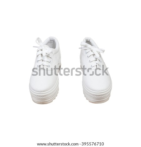 Pair sneakers, white color isolated background