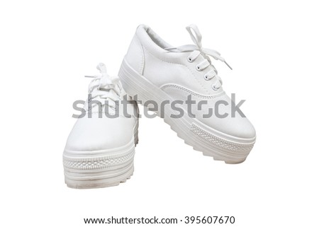 Pair sneakers, white color isolated background - stock photo