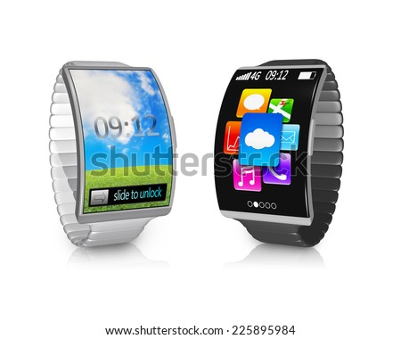 pair ultra-thin bent interface smartwatch with metal watchband colorful screen isolated on white background - stock photo