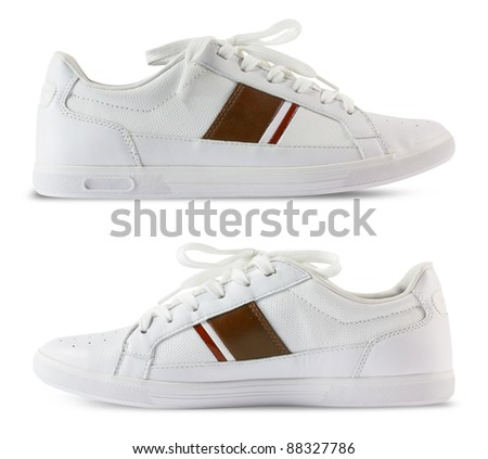 Pair white of sport shoes and Red bar design isolated on white background. Save Path for design work - stock photo