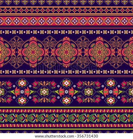 Paisley floral seamless pattern - stock photo