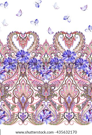 Paisley painted seamless pattern with butterflies, ornamental indian border, decorative motif. For wrapping, wallpaper, fabric, textile