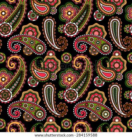 Paisley pattern flower seamless pattern element - stock photo