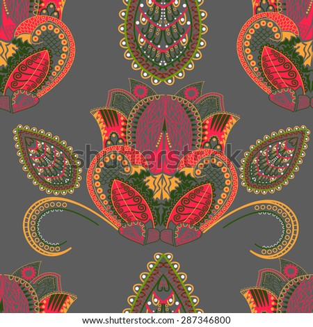 Paisley pattern flower seamless pattern element