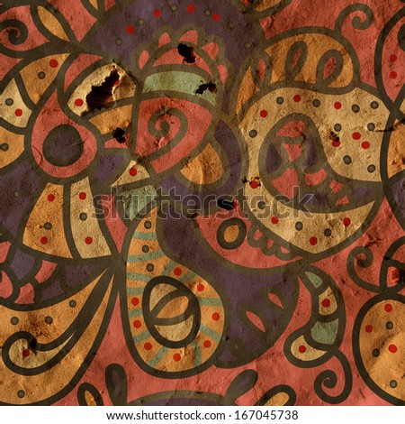 Paisley seamless background on paper texture