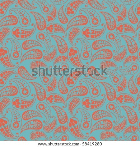 Paisley seamless pattern. Rasterized version, vector is in my portfolio. - stock photo