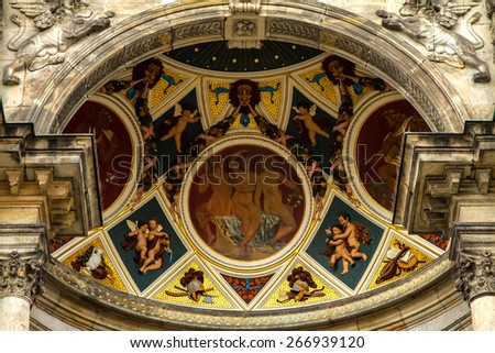 Paiting details in the Opera building in Dresden , Germany  - stock photo