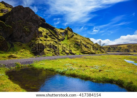 Pakgil Canyon - green grass and moss on the rocks. At the bottom of canyon flows small fast creek. Summer blooming Iceland