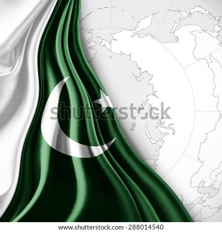 Pakistan  flag of silk with world map and white background