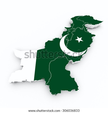pakistan flag on 3d map