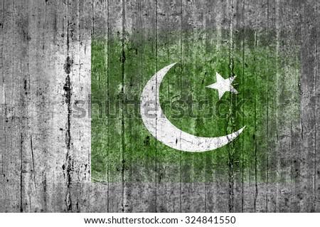 Pakistan flag painted on background texture gray concrete - stock photo
