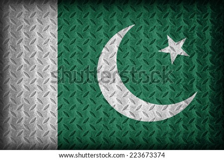 Pakistan flag pattern on the diamond metal plate texture ,vintage style - stock photo