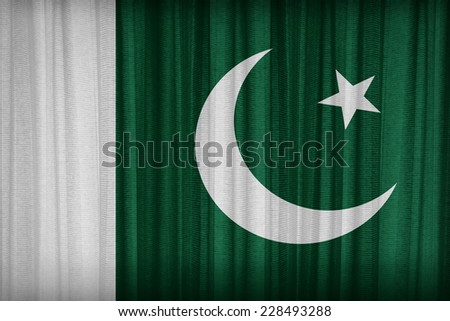 Pakistan flag pattern on the fabric curtain,vintage style - stock photo
