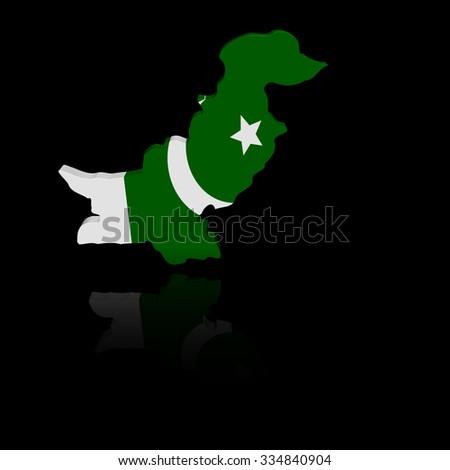 Pakistan map flag with reflection illustration - stock photo