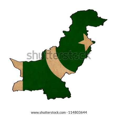 Pakistan map on Pakistan flag drawing ,grunge and retro flag series