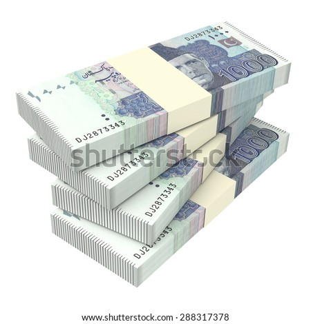 Pakistan money isolated on white background. Computer generated 3D photo rendering. - stock photo