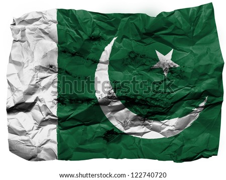 Pakistan. Pakistani flag painted on crumpled paper - stock photo