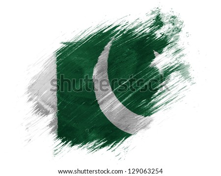 Pakistan. Pakistani flag painted with brush on white background - stock photo