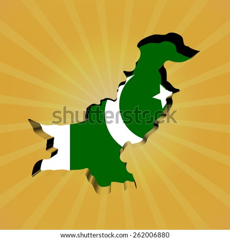 Pakistan sunburst map with flag illustration - stock photo