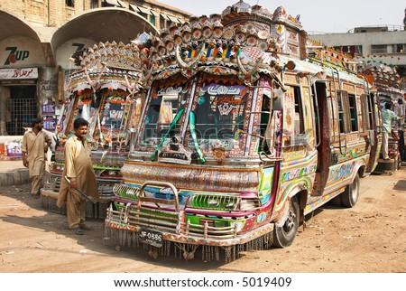 Pakistani local buses - stock photo